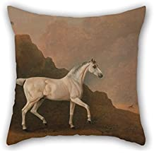 Beautifulseason 16 X 16 Inches / 40 By 40 Cm Oil Painting John Boultbee - A Grey Arab Stallion In A Desert Landscape Pillow cases(Copricuscini e federe) ,two Sides Ornament And Gift To Gril Friend,play Room,dance Room,boy