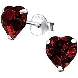 Laimons Pendientes para mujer Corazón Rojo Oscuro Brillante Plata de ley 925