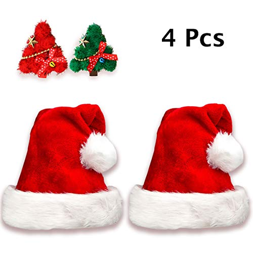 Jonami 2 Gorros de Papa Noel + 2 Pinzas de Pelo