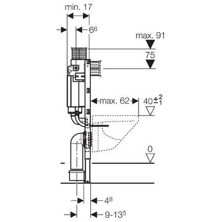 Geberit 111240001 Duofix Montageelement für Wand-WC 82 cm