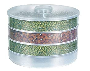 Shreeji Ethnic Sprout Maker   Plastic Sprout Maker Box   Hygienic Sprout Maker with 4 Container   Organic Home Making Fresh Sprouts Beans for Living Healthy Life Sprout Maker 4 Bowl