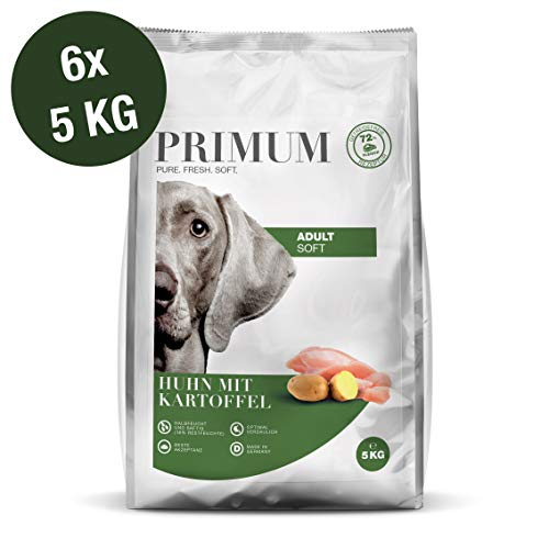 Primum | 30 kg | Halbfeuchtes Trockenfutter für Hunde | getreidefrei | Soft Huhn mit Kartoffel | Extra viel Fleisch | Optimal verdaulich | Herstellung in Deutschland