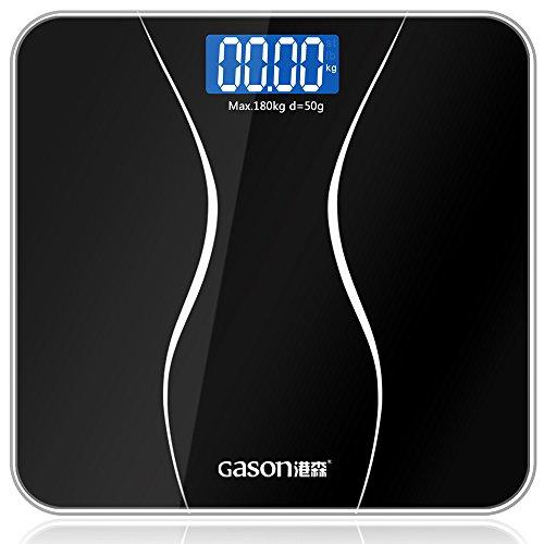 GASON A2 Báscula de Baño Digital de Alta Medición Precisa,28st/180kg/400lb,Dos AAA Incluidos,Vidrio Templado, Pantalla LCD, Auto Encendido/Apagado, Elegante Negro