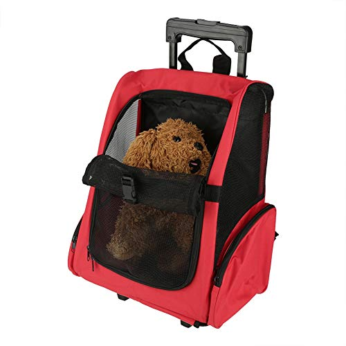 Portable Pet Travel Carrier & Backpack Luggage, Pet Travel Trolley Waterproof Cat Dog Carrier on Wheels, Rolling Backpack Cat Dog Transporting Luggage Box with Telescopic Handle, 51 * 39cm (Red)