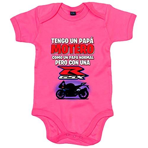 Body bebé tengo un papá motero moto GSX - Rosa, 6-12 meses