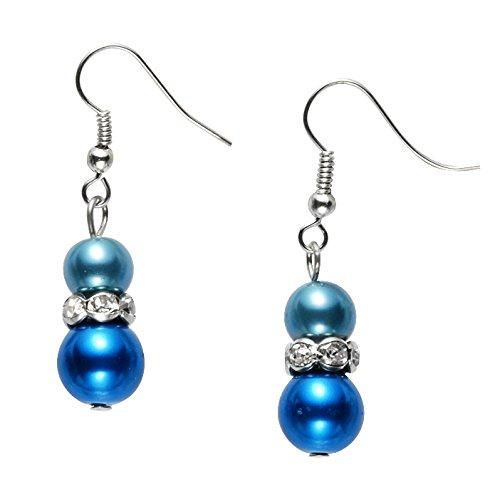 teinen - Elegante Ohrstecker silber farbig - Schmuck (Farbigen Glas-steinen Blau)