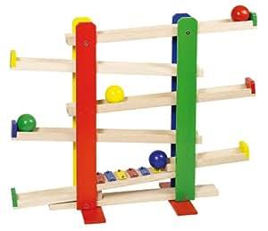 Goki 2041268 circuit de billes toboggan des boules for Construction xylophone bois