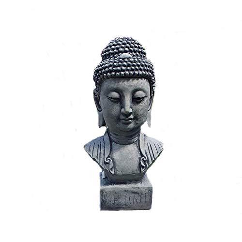 Buddha Kopf Büste H. 31 cm Steinguss Patiniert Feng-Shui Steinfigur Frostfrei