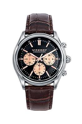 Reloj Viceroy de Hombre. Correa de piel de color marron. Esfera redonda de color negro. de Viceroy