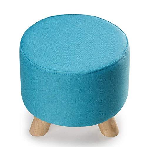 Blau Leder Osmanischen (QQXX Umweltfreundlich und geschmacklos, Hocker rund aus Holz, Kinderhocker Niedriger Hocker, Geeignet für Wohnzimmer Küche Schlafzimmer, Robuste Tragfähigkeit (Farbe: Blau))