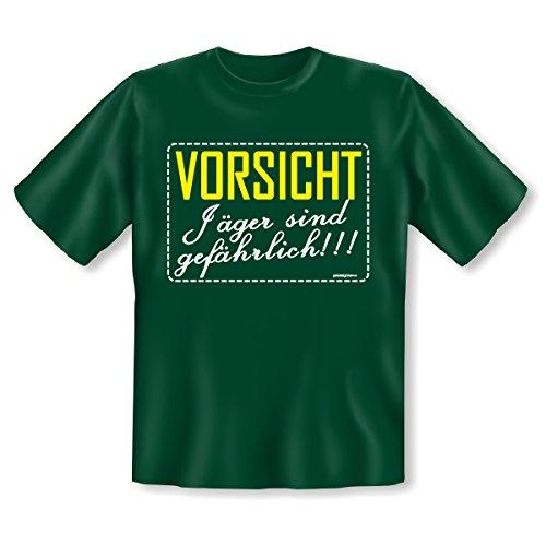 Jagd Jäger Hunter T-Shirt ::: Vorsicht Jäger sind gefährlich ::: Dunkelgrün Dunkel-Grün