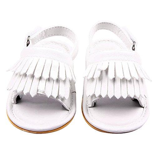Gosear Sommer Sehr schön Quaste Stil Baby Mädchen Junge Kleinkinder Kinder Sandalen Schuhe mit Weiche Anti-Rutsch Kautschuk Sohle Matt Obere Braun Größe 12 Weiß