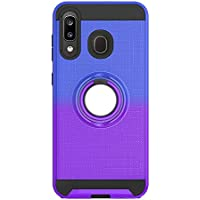 FAWUMAN Funda para Samsung Galaxy A505 Soft TPU + Duro PC Doble Parachoques Cubierta con a Anillo Soporte,Diseño Antideslizante de Red de Pesca 3D(Azul-Violeta)