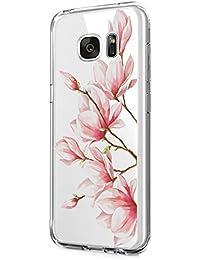 Riyeri Hülle Compatible with Samsung Galaxy S7 Edge Hülle Transparent TPU Silikon Bumper Schutzhülle Soft Handyhülle für Samsung S7 - Blume Serie
