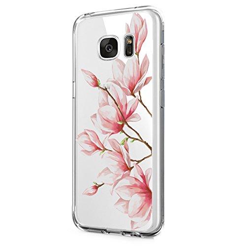 Pacyer Samsung Galaxy S7/S7 Edge Hülle Silikon Ultra dünn Transparent Handyhülle Durchsichtige Rückschale TPU Schutzhülle Case Cover Blume Kaktus Gold Rosa (5, Galaxy S7 Edge)