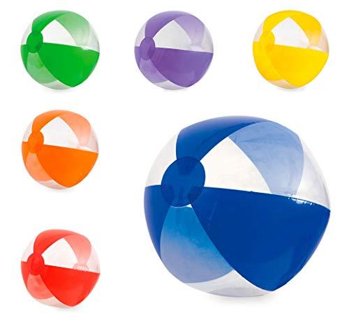 Lote 12 Unidades. Balón Hinchable gajos Colores Transparentes