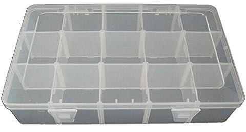 ANSIO 93932 28 x 17 x 5.6cm Large Multi-Purpose 15-Compartments Adjustable Plastic Storage Tool Box/ Jewel Case - Clear
