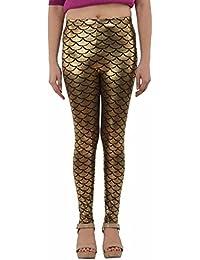 Designer Women's Party Mermaid Print Golden Color Legging