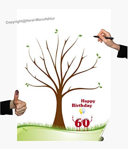 Herzl-Manufaktur Wedding Tree Poster 60. Geburtstag Gästebuch Happy Birthday Partyspiel Fingerabdruck Baum (60 V)