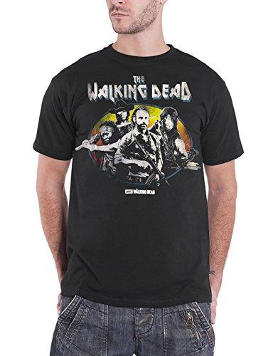 The Walking Dead T Shirt Carl Rick Michonne Daryl Group Shot offiziell Herren (Tshirt Walking The Carl Dead)