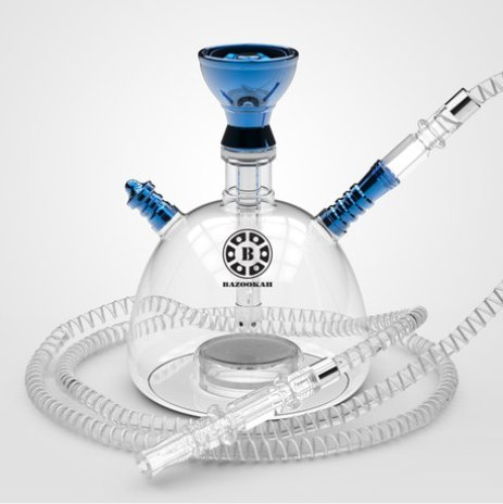 NARSHISHA Shisha Party Pub Smoking Set Narghile mit LED-Licht Base - Bluetooth gesteuert(Blau) -