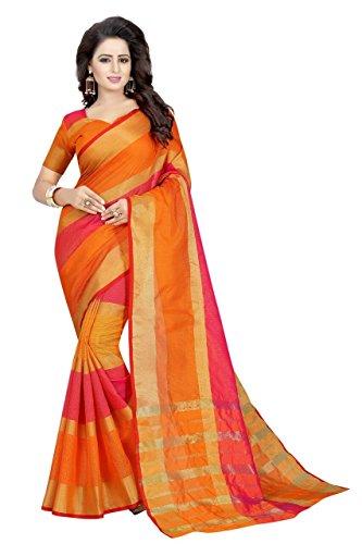 Pramukh Store Cotton Linen Saree (Anu Fentta-3, Orange, Free Size)