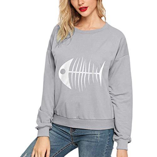 Damen Freizeit Langarmshirts,Fischgräten muster,Lange Ärmel,Rundhalsausschnitt,Langarm Sweatshirt lässiger Bluse S-3XL -
