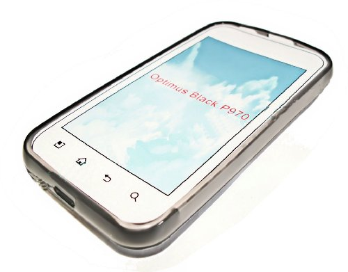 Silikon TPU Cover Case Handy Hülle in Smoke kompatibel mit LG P970 Optimus Black plus Displayschutzfolie (Black Optimus P970 Lg)