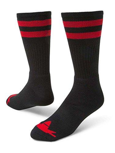 Red Lion Schwarze Socken (Red Lion DOO Wop Classic 2 Stripe Crew Socken, Gr. L, Schwarz/Rot)