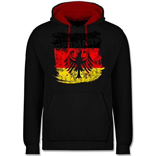 Fußball-Europameisterschaft 2020 - Germany mit Adler Vintage - L - Schwarz/Rot - JH003 - Kontrast Hoodie -