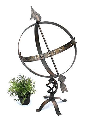 DanDiBo Sonnenuhr Uhr aus Metall Schmiedeeisen Wetterfest H-72 cm Bronzefarbe (Sonnenuhr Uhr)