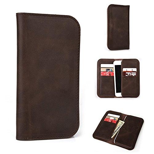 Étui portefeuille en cuir véritable pour motorola moto e dual sim (2nd Gen), marron marron marron