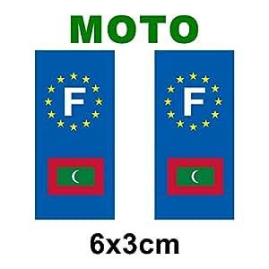 Autocollant plaque immatriculation drapeau maldives - Moto