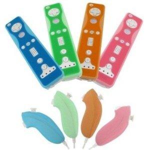 Fosmon Silikon Hülle Schutzhüllen für Nintendo Wii / Wii U Wiimote Remote Fernbedienungen und Nunchuk-Controller 4er-Set, Blau, Grün, Orange und - Zwei Controllern Wii Mit