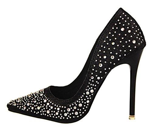 Elegante De Alto Pumps Minetom Brillante Dulce Tacón Primavera Zapatos Rhinestone Stiletto Mujer Boda SVpUzM