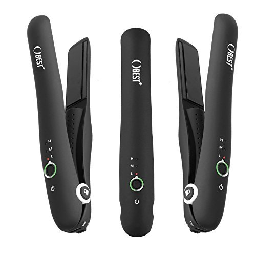 B-Qtech Flat Iron Hair Straightener with Ceramic Plates Rechargeable Battery Travel Pouch Adjustable Temperature for Straightens and Curls
