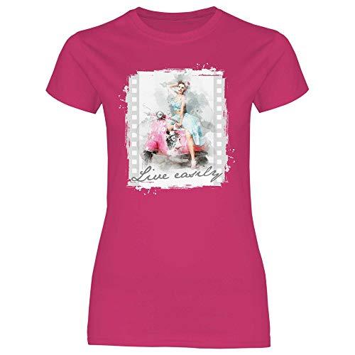 Royal Shirt Damen T-Shirt Vespa Girl, Größe:L, Farbe:Heliconia