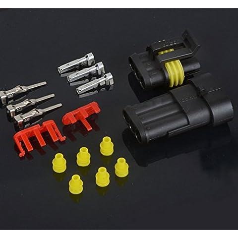 5pcs 3pin impermeabile connettore 3vie connettore auto, camion, barca ATV UTV RV - 3 Pin Gomma Connettore