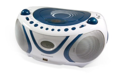 Metronic 477115 Radio CD- MP3 Boombox Wave Weiß/Blau - Boombox Mp3 Cd-radio