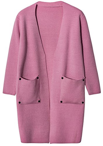 Vogueearth Femmes 4/5 Manche Faux Fur Fausse Fourrure Pocket Knit Cardigan Sweater Chandail Tricots Rose