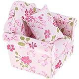 1/12 Dollhouse Sofá con Almohada Floral en Miniatura para Casa de Muñecas