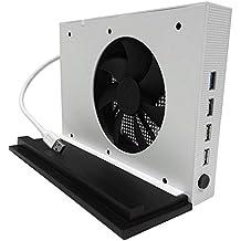 YockTec Xbox One S Soporte vertical con Ventilador de Refrigeración y 4 Concentradores USB para Xbox One S Consola-Blanco