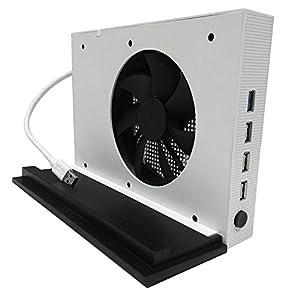 YockTec Xbox One S vertical Standfuß Stand ständer mit Cooling Lüfter und 4 USB Hub für Xbox One S Konsole-Weiß