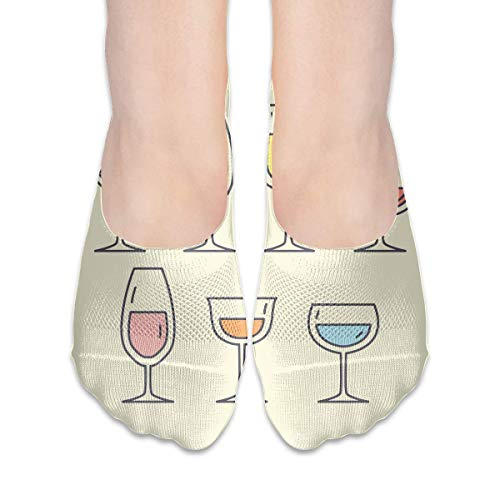 jiilwkie Free Alcoholic Drinks Suits Women's Anti-Slip Boat Socks,Unique Casual Thin Polyester Cotton Low Cut Socks,Hidden Flat Boat Liner -