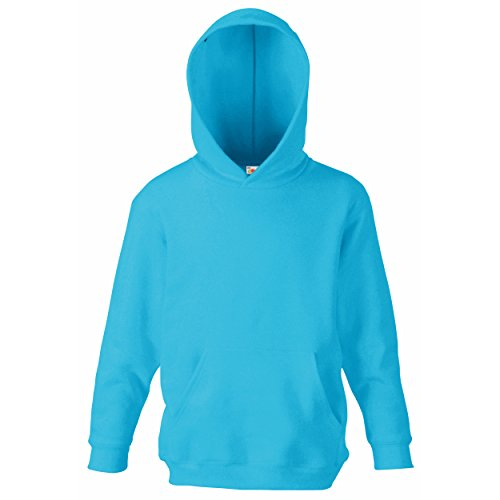 Fruit of the Loom Kapuzenpullover, Kids Kinder Hoodie Sweatshirt-Pullover, Gr. 146, Blau - Azur (Jerzees-baumwolle-pullover)