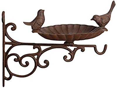 Fallen Fruits FB163 Bird Bath/Feeder with Wall Bracket - Brown by Fallen Fruits