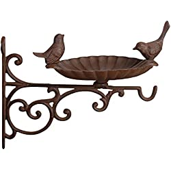 Esschert FB163 - Soporte de pared con comedero para pájaros (hierro fundido, 22 x 26 x 28 cm)