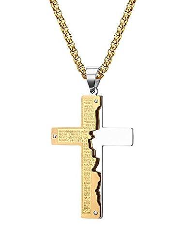 Vnox Edelstahl Gebrochene Bibel Vers Schrift Gravierte Zwei Ton Kreuz Anhänger Halskette mit Gold Rolo Kette für Männer