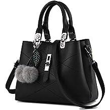 c34542305387c Handtasche Schwarz mittel Damen Elegante Tasche Schulter Umhänge  Henkeltasche Schule Fashion Style Trend Kunstleder Plüsch