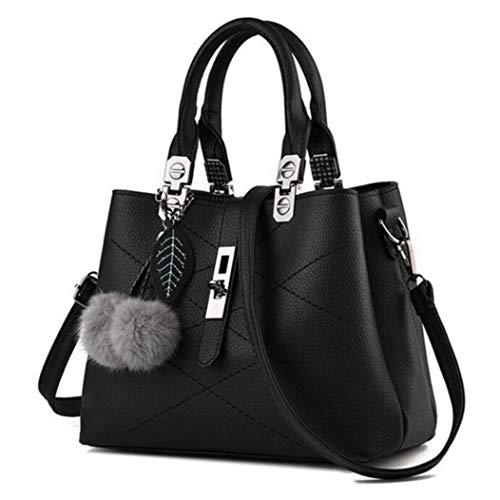 Handtasche Schwarz mittel Damen Elegante Tasche Schulter Umhänge Henkeltasche Schule Fashion Style Trend Kunstleder Plüsch -